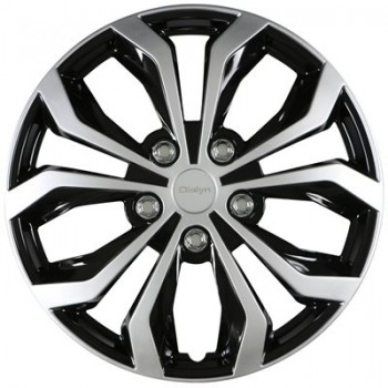 """Wheel Covers 16"""" (set of 4) - Dialyn Style 132 Silver/Black - 13215SB"""