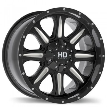 Fastwheels C4 Gloss Black with Milled Trim/Noir lustré avec bordure fraisé, 17x8.0, 6x139.7 (offset/deport 20), 106