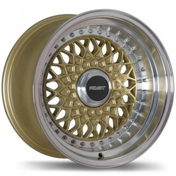 Fastwheels F200 Royale , 15x8.0 , 5x105 , (offset/deport 0 ) , 72.6 , Gold With Machined Lip/Or avec rebord machine