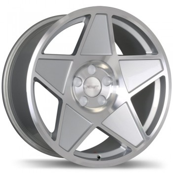 Fastwheels F209 Nineteen 80 , 18x9.0 , 5x100 , (offset/deport 25 ) , 72.6 , Silver With Gloss Machined Face/Argent avec facade machinee lustree